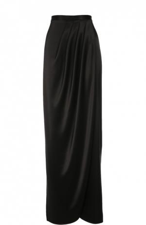 Макси-юбка асимметричного кроя с защипами St. John. Цвет: черный