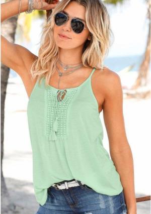 Пляжный топ Lascana. Цвет: нежно-зеленый, темно-синий