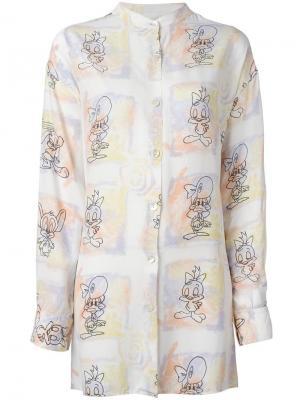 Рубашка с принтом мульт-героев Jc De Castelbajac Vintage. Цвет: белый