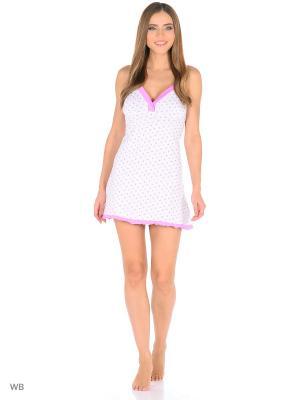 Ночная сорочка НЕЖКА. Цвет: белый, розовый