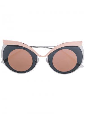 Солнцезащитные очки в оправе кошачий глаз Boucheron. Цвет: коричневый