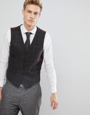 Burton Menswear Коричневый приталенный жилет в клетку. Цвет: коричневый