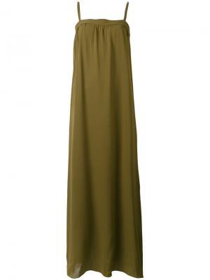 Длинное платье с открытыми плечами Vince. Цвет: зелёный