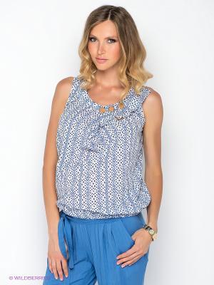 Блузка Gemko. Цвет: белый, синий
