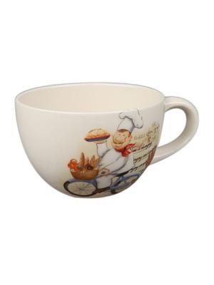 Бульонница 520 мл в п/у. Elff Ceramics. Цвет: кремовый, белый, красный