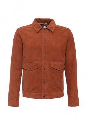 Куртка кожаная Topman. Цвет: коричневый