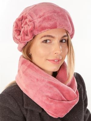 Берет, с шарфом LORICCI. Цвет: розовый