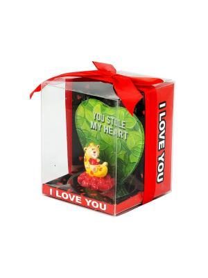 Фигурка декоративная Мишка-валентинка Русские подарки. Цвет: зеленый, светло-оранжевый, красный