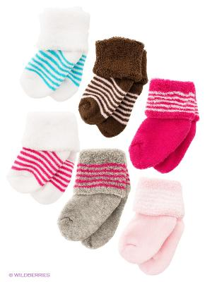 Носки, 6 пар Luvable Friends. Цвет: бледно-розовый, коричневый, розовый, серый