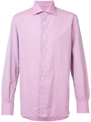 Классическая рубашка Isaia. Цвет: розовый и фиолетовый