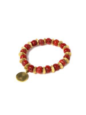 Браслет Золото и Коралл PE0115 Indira. Цвет: красный