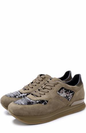 Замшевые кроссовки с вышивкой пайетками Hogan. Цвет: хаки