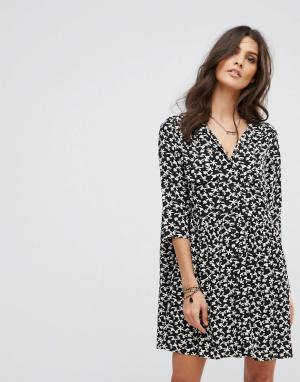 BA&SH Платье с длинными рукавами и цветочным принтом. Цвет: черный