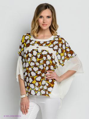 Блузка Gemko. Цвет: молочный, коричневый