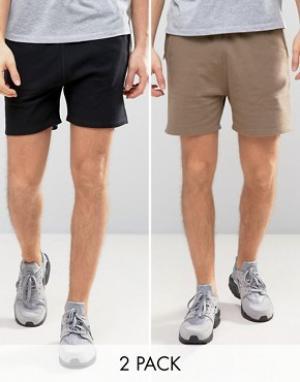 ASOS Комплект из 2 трикотажных шортов коричневого и черного цвета , СКИ. Цвет: мульти