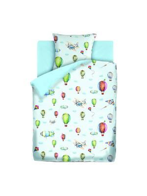 Комплект постельно белья 1,5 бязь  Аэропланы Непоседа. Цвет: голубой