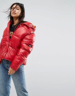 Puffa Оверсайз-куртка с капюшоном. Цвет: красный