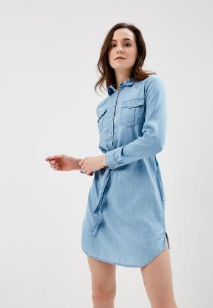 Платье джинсовое Springfield. Цвет: голубой
