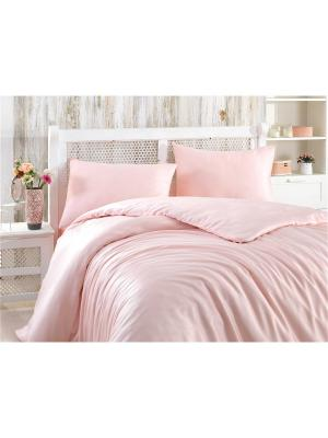 Кпб 2 сп. (Евро) из бамбука SHINE, пудра HOBBY HOME COLLECTION. Цвет: розовый