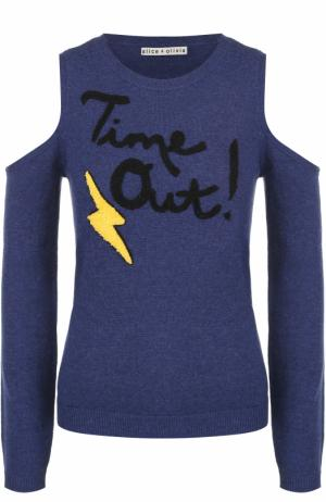 Пуловер с открытыми плечами и контрастной отделкой Alice + Olivia. Цвет: синий