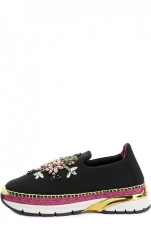 Текстильные кроссовки с декором Dolce & Gabbana. Цвет: черный