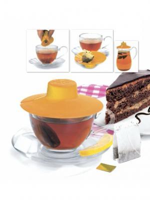 Крышка для заваривания и отжима чайных пакетиков (оранжевая) BRADEX. Цвет: оранжевый