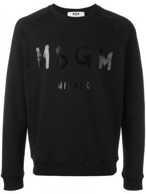 Толстовка с принтом-логотипом MSGM. Цвет: чёрный