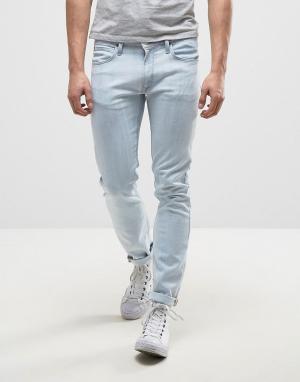 Lee Голубые выбеленные джинсы скинни Luke. Цвет: синий