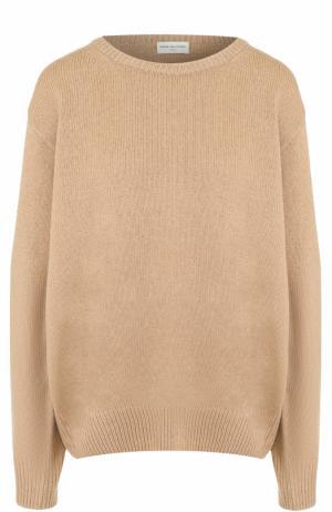 Шерстяной пуловер свободного кроя Dries Van Noten. Цвет: бежевый