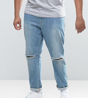 ASOS Голубые джинсы скинни с рваными коленями PLUS. Цвет: синий