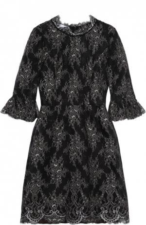 Кружевное платье с укороченным рукавом и круглым вырезом Oscar de la Renta. Цвет: черный