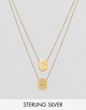 Dogeared Позолоченное ожерелье Protect My Heart Watch Back. Цвет: золотой