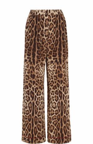 Шелковые брюки в пижамном стиле Dolce & Gabbana. Цвет: леопардовый