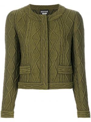 Укороченный пиджак с узором косы Boutique Moschino. Цвет: зелёный