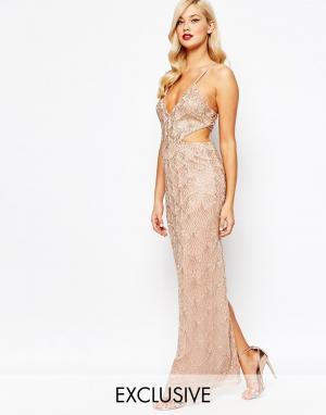 Amelia Rose Платье макси со сплошной отделкой. Цвет: золотой