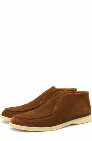 Замшевые ботинки Open Walk без шнуровки Loro Piana. Цвет: светло-коричневый