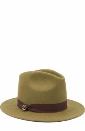 Фетровая шляпа с лентой Dsquared2. Цвет: хаки