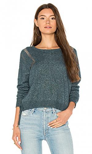 Прямой свитер с асимметричным подолом Autumn Cashmere. Цвет: синий