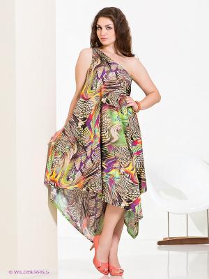 Платье МадаМ Т. Цвет: салатовый, серо-коричневый