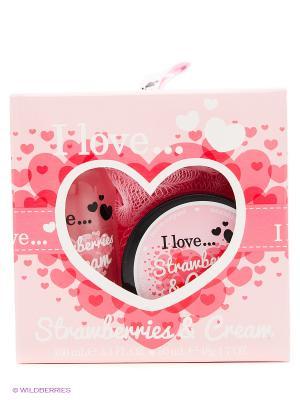 Подарочный набор для ванны I love Клубника сливки Love.... Цвет: розовый