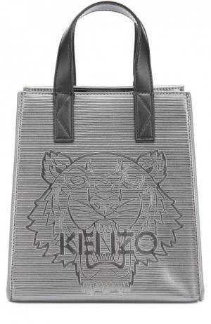 Металлизированная сумка-тоут Tiger Kenzo. Цвет: темно-серый
