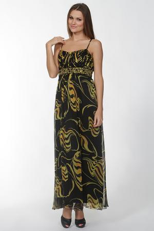 Длинное платье на бретелях Mona Kalin. Цвет: черный, желтый