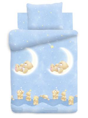 Комплект постельного белья детский поплин Forever Friends. Цвет: голубой