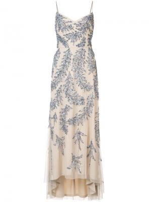 Платье с вышивкой пайетками Aidan Mattox. Цвет: телесный