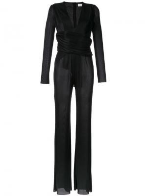 Pleated deep v-neck jumpsuit Galvan. Цвет: чёрный
