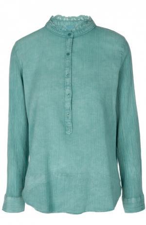 Блуза с воротником-стойкой и кружевной отделкой Zadig&Voltaire. Цвет: морской волны
