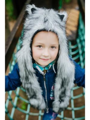 Шапка Хаски детская ZVEROSHAPKI. Цвет: белый, серый