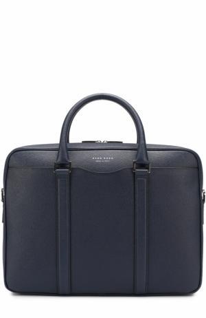 Кожаная сумка для ноутбука с плечевым ремнем BOSS. Цвет: темно-синий