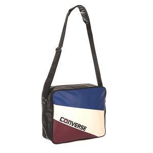 Сумка через плечо  Basic Reporter Tricolore Black/Butgundy/White/Blue Converse. Цвет: черный,белый,бордовый,синий