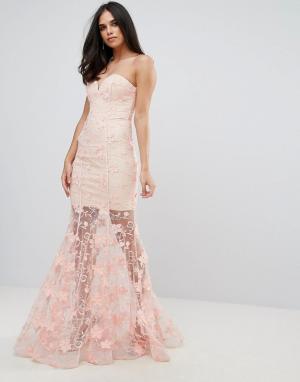 Forever Unique Платье макси с цветочной 3D-отделкой. Цвет: розовый